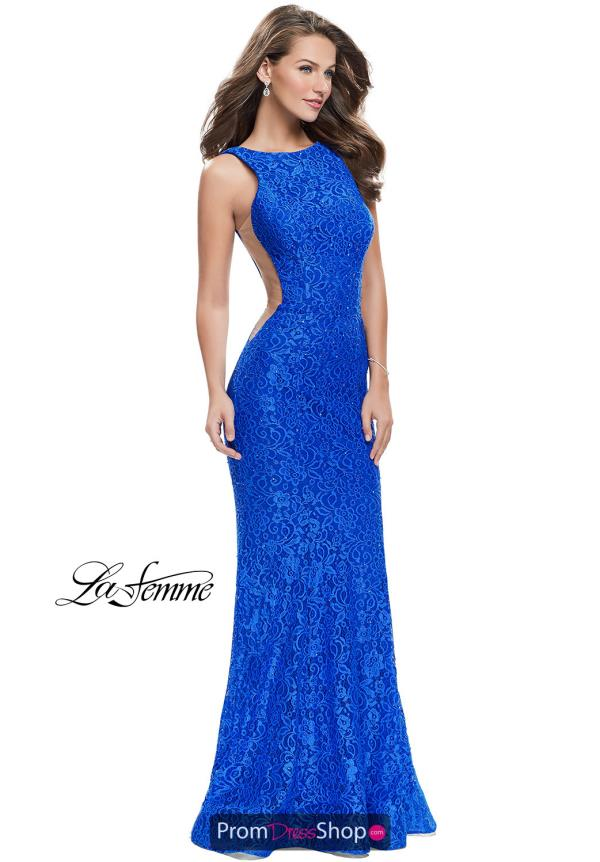 La Femme High Neckline Fitted Dress 24903