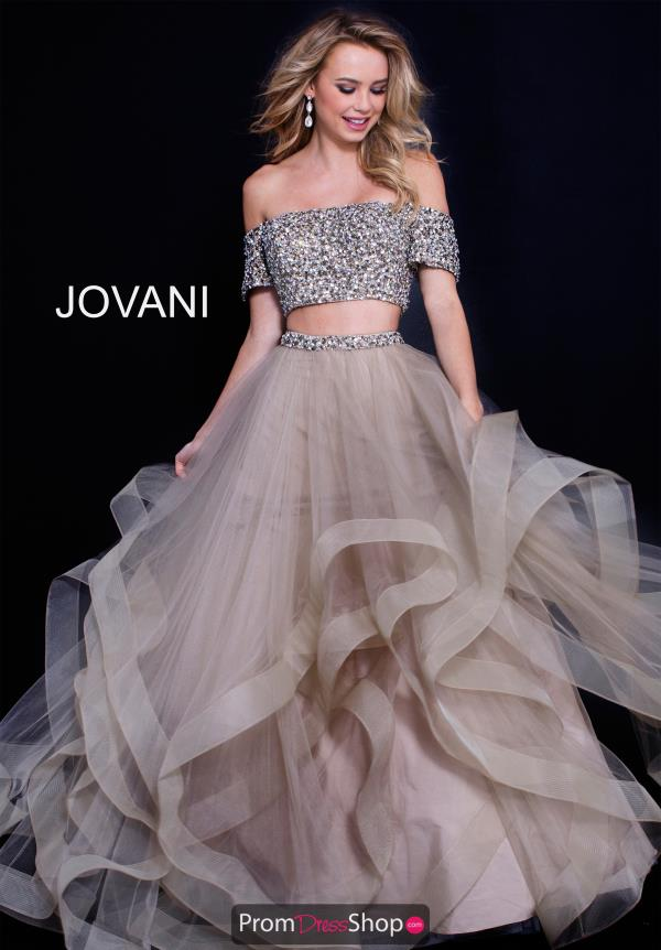 Jovani Off the Shoulder Beaded Dress 59755