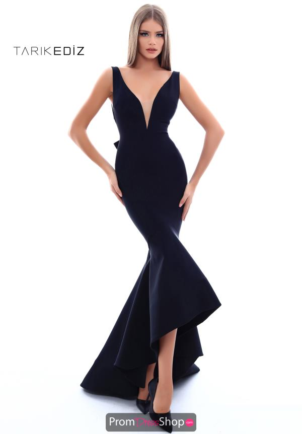 Tarik Ediz V- Neckline Fitted Dress 50238
