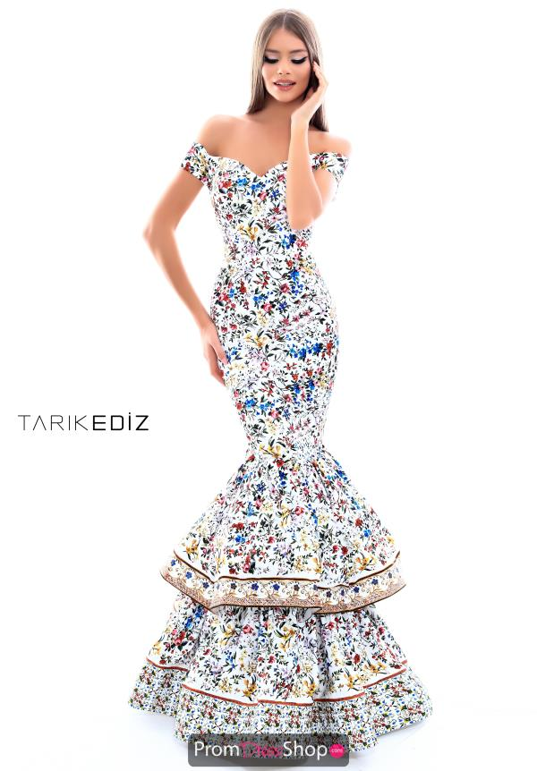 Tarik Ediz Cap Sleeved Print Dress 50320
