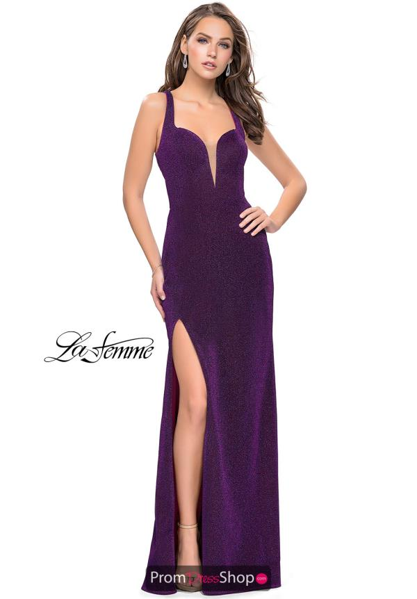 La Femme Long Fitted Dress 25901