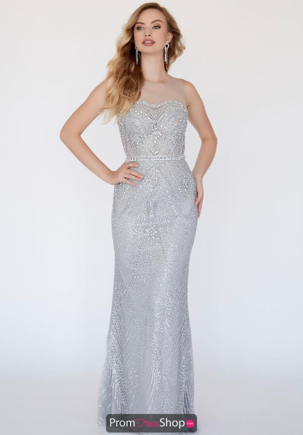 Jolene Beaded Illusion Neckline Dress 18316