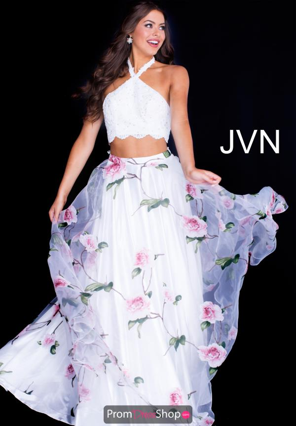 JVN by Jovani Two Piece White Dress JVN53060
