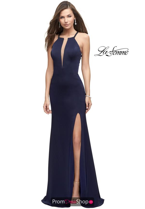 La Femme Long Fitted Dress 25669