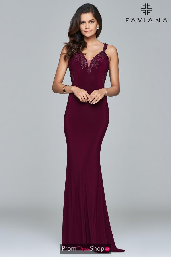 Faviana Fitted V Neck Dress S7999