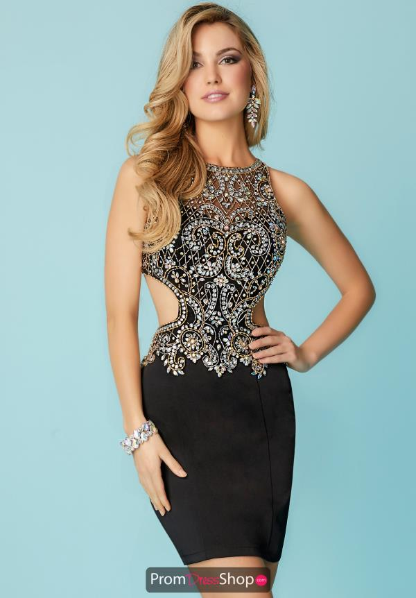 Hannah S High Neckline Beaded Dress 27157