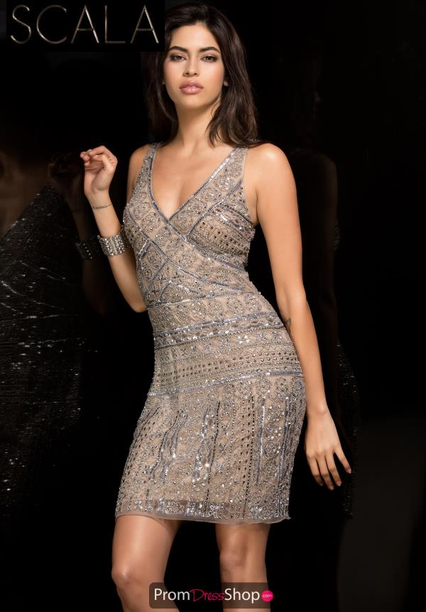 Scala V- Neckline Beaded Dress 48766