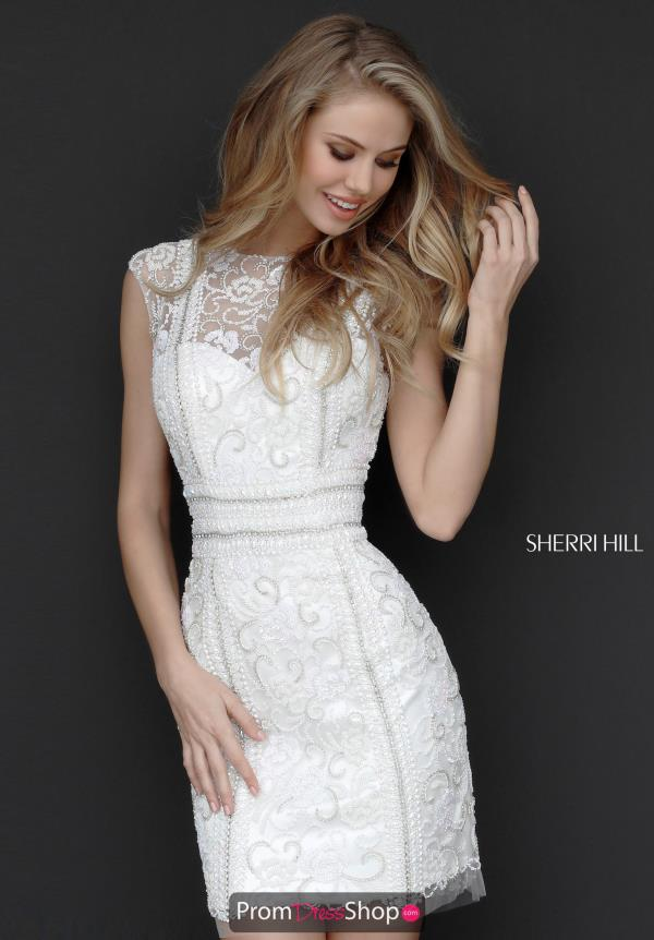 Sherri Hill Short Beaded Cap Sleeve Dress 51287