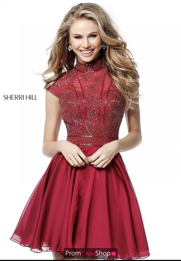 Sherri Hill Short Chiffon Cap Sleeve Dress 51291