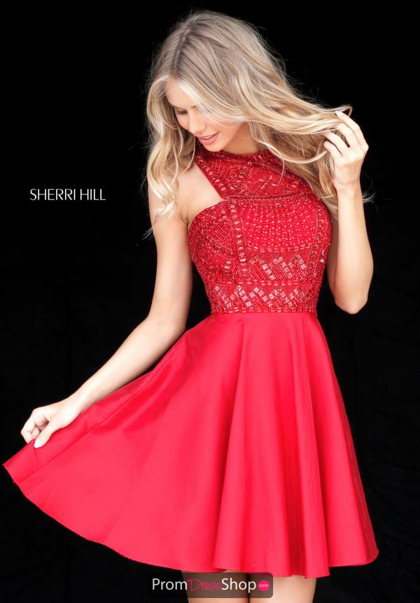 Sherri Hill Short A Line Beaded Dress 51302