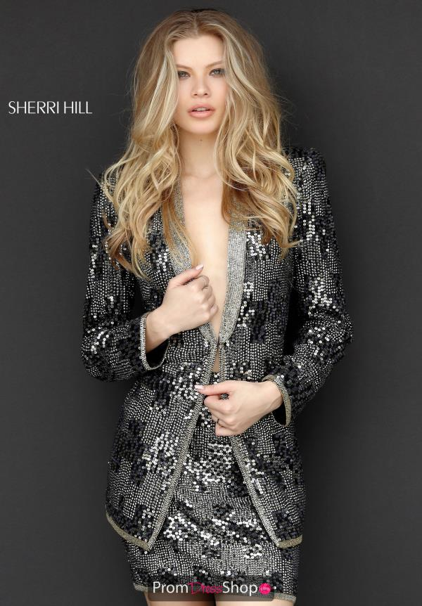 Sherri Hill Short Beaded Long Sleeve Dress 51368