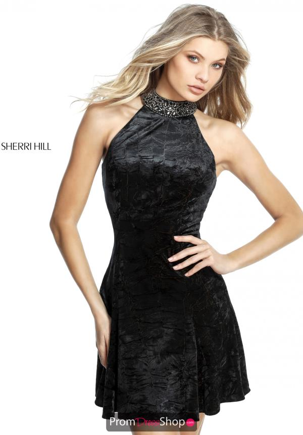 Sherri Hill Short High Neckline Fitted Dress 51404