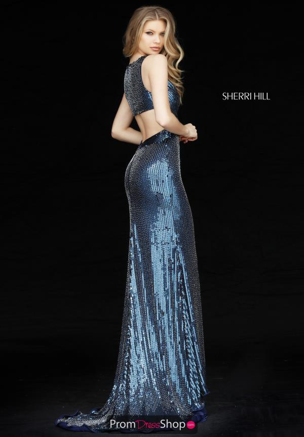Sherri Hill V Neck Open Back Dress 51364