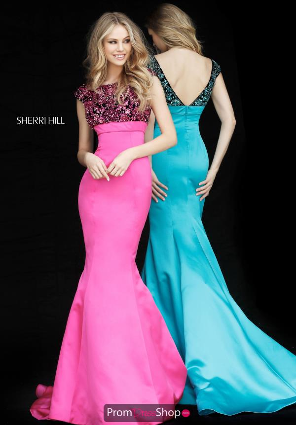 Sherri Hill Satin Cap Sleeve Dress 51373