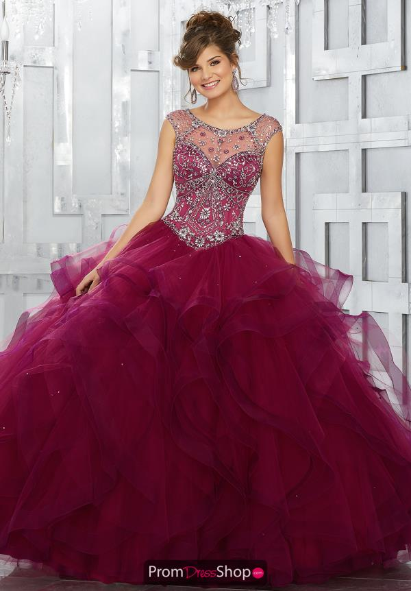 Vizcaya Quinceanera Cap Sleeved Beaded Gown 89141