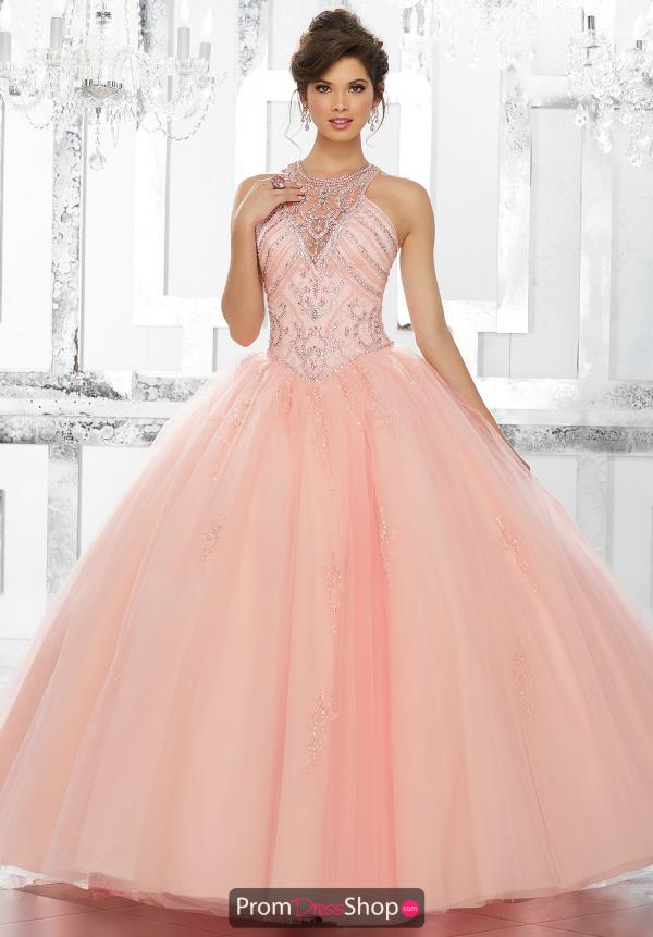 Vizcaya Quinceanera Beaded High Neckline Gown 89145