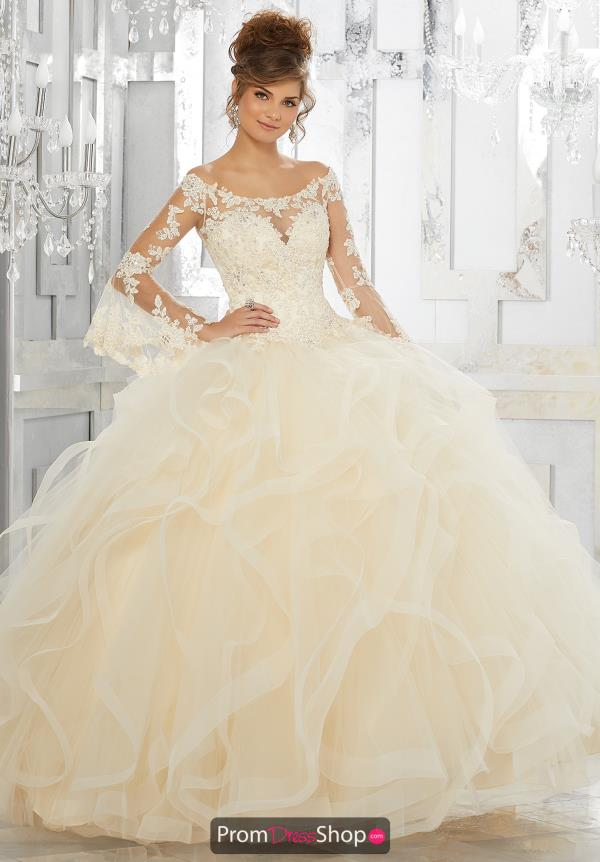 Vizcaya Quinceanera Long Sleeved Lace Dress 89153
