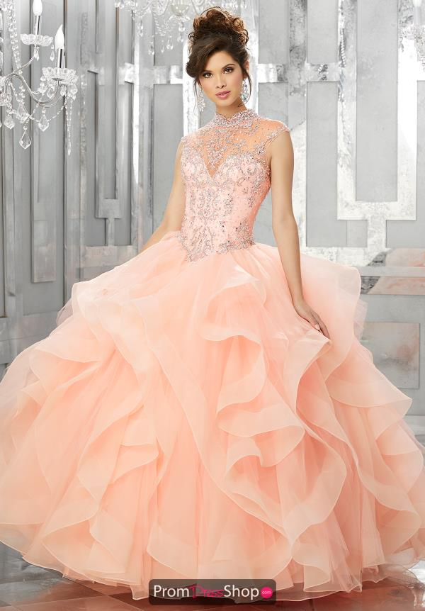 Vizcaya Quinceanera Beaded High Neckline Gown 89155