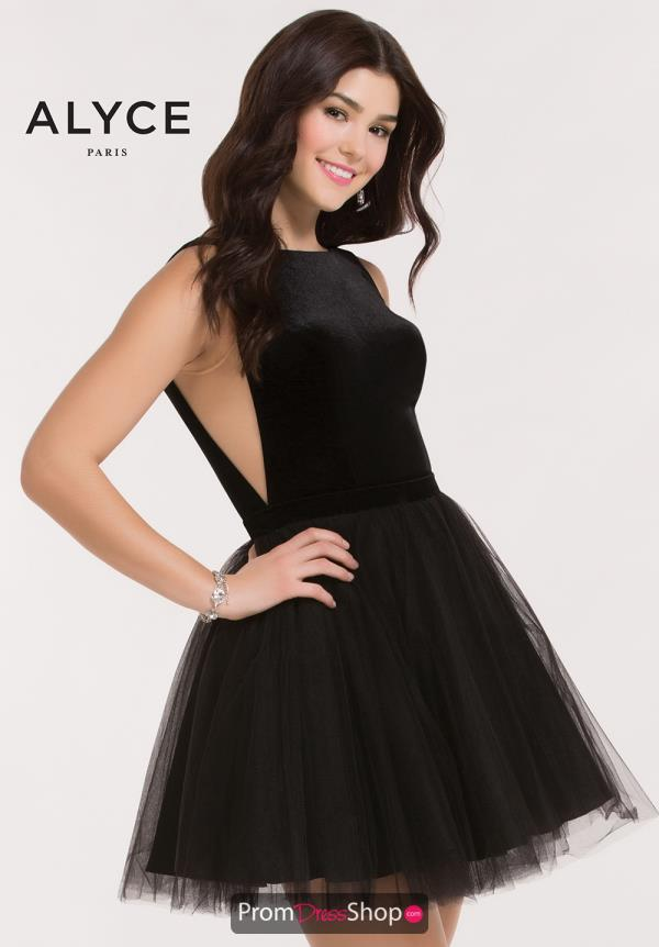 Alyce Short Velvet A Line Dress 2639