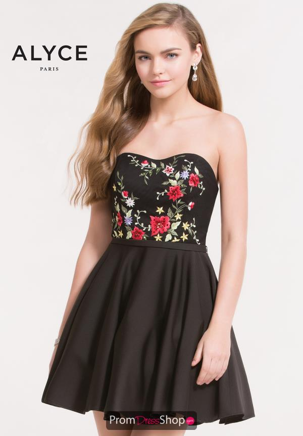 Alyce Short Strapless Black Dress 3737