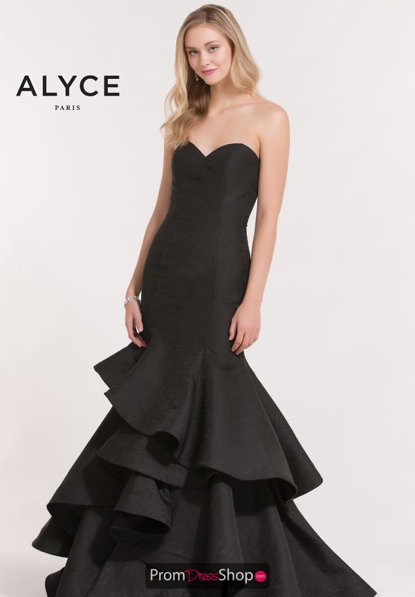 Alyce Paris Black Fitted Dress 6885