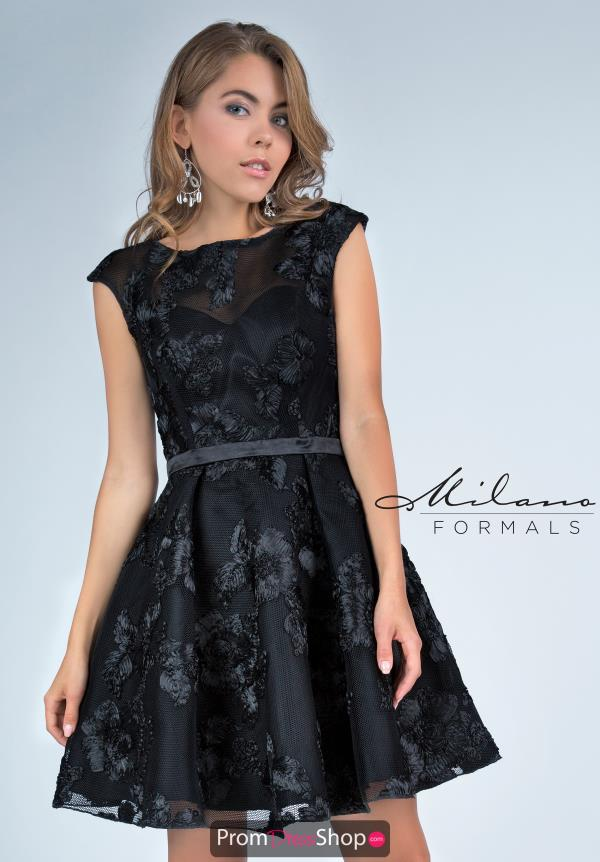 Milano Formals High Neckline Black Dress E2220