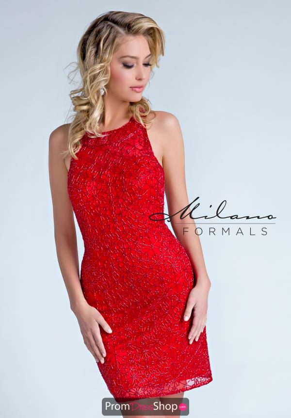 Milano Formals Fitted Red Dress E2253