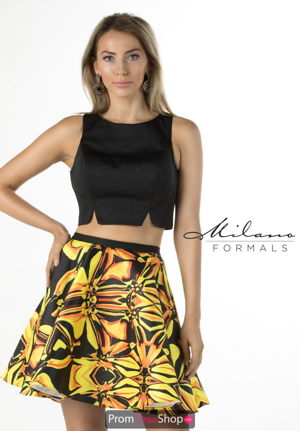 Milano Formals Yellow Print Dress E2282