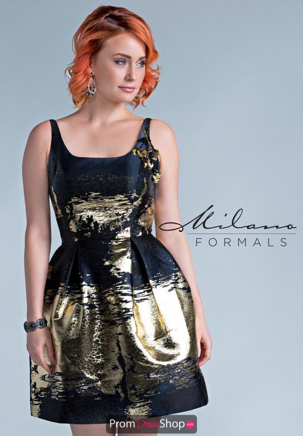 Milano Formals Short Black Dress E2291
