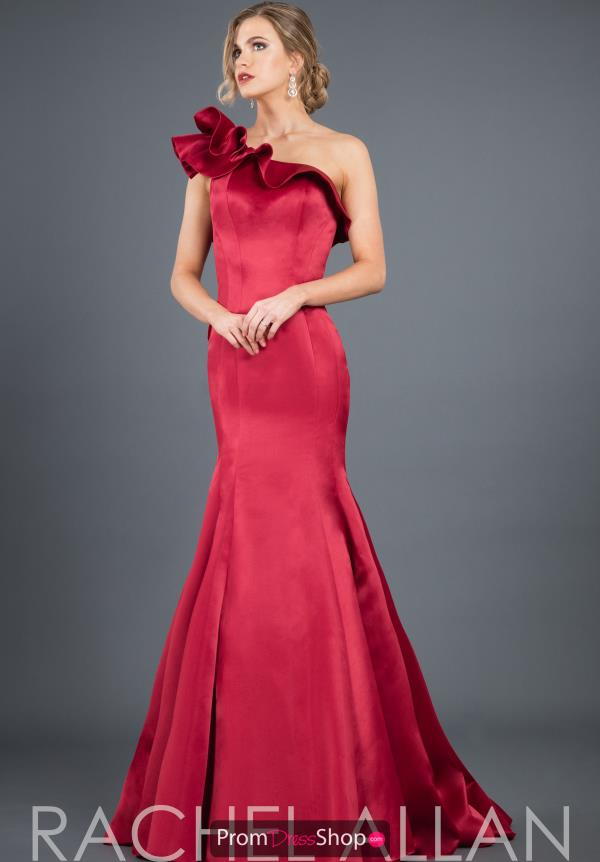 Rachel Allan One Shoulder Satin Dress 8283