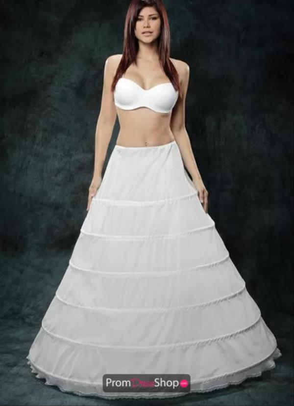 White Ball Gown Hoop Slip with 6-bones