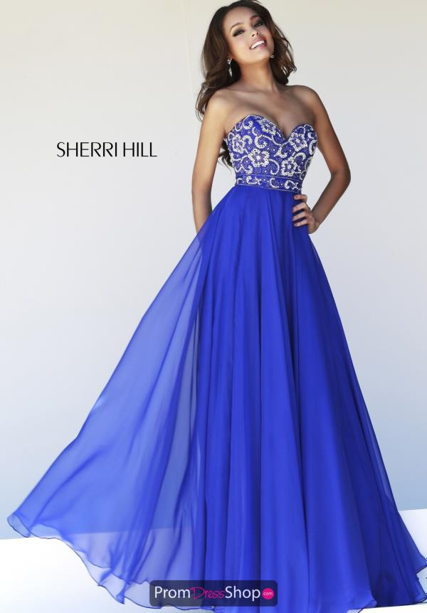 Sherri Hill Fitted Waist Chiffon Dress 8545