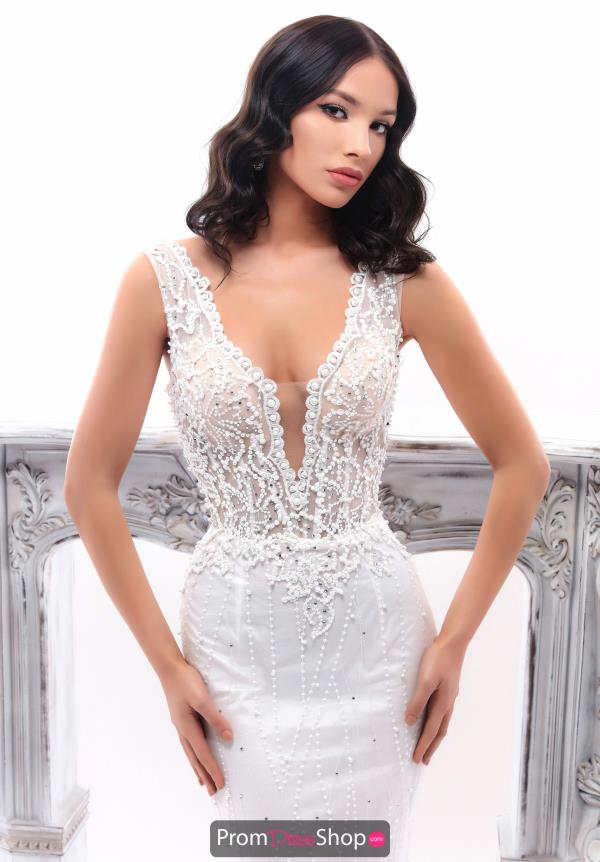 Tarik Ediz V- Neckline Lace Dress 93347