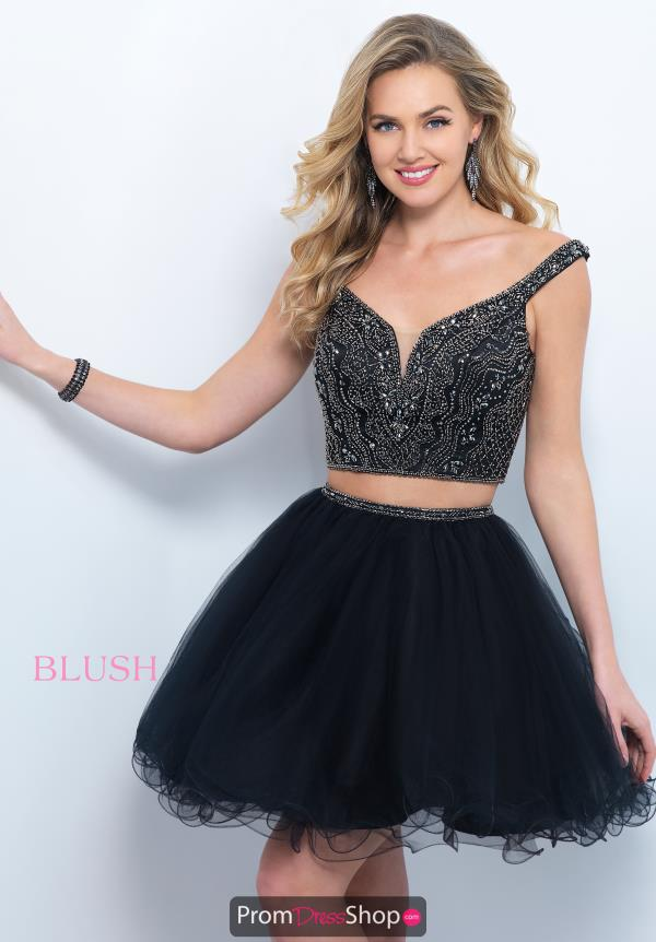 Blush Cap Sleeved Black Short Dress 11369