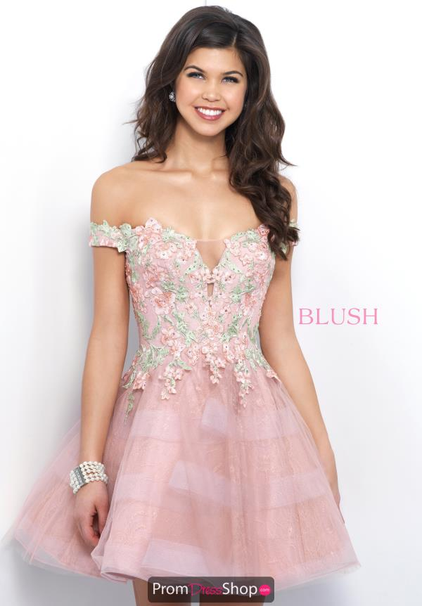 Blush Off the Shoulder A Line Dress 11382
