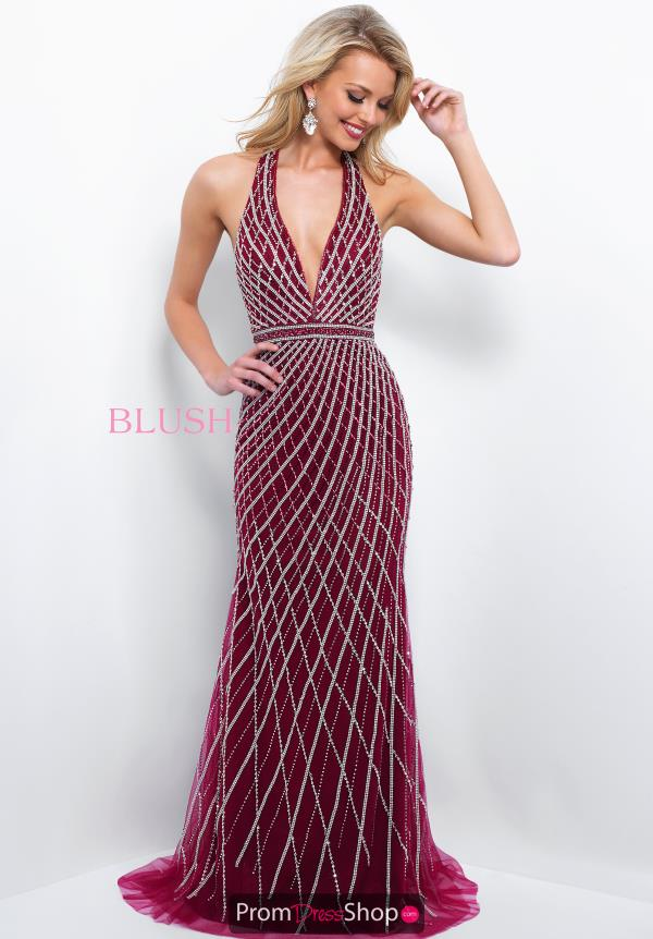 Blush Long Halter Top Beaded Dress 11389