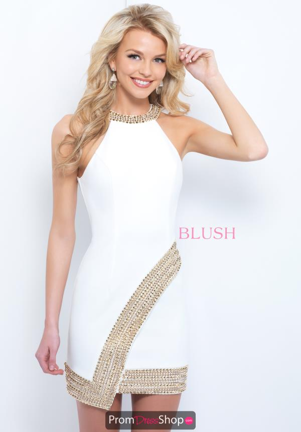 Blush Halter Neckline Short Dress C405