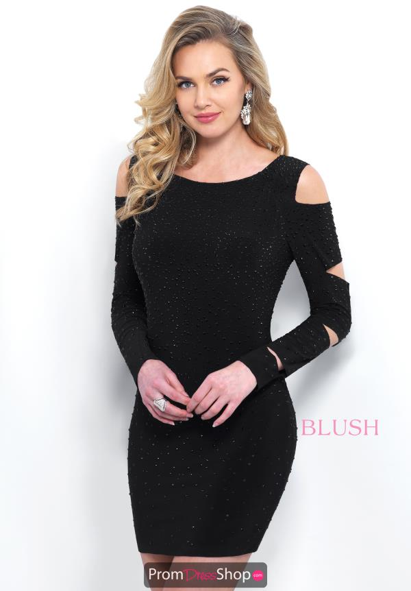 Blush Short Fitted Black Dress C422