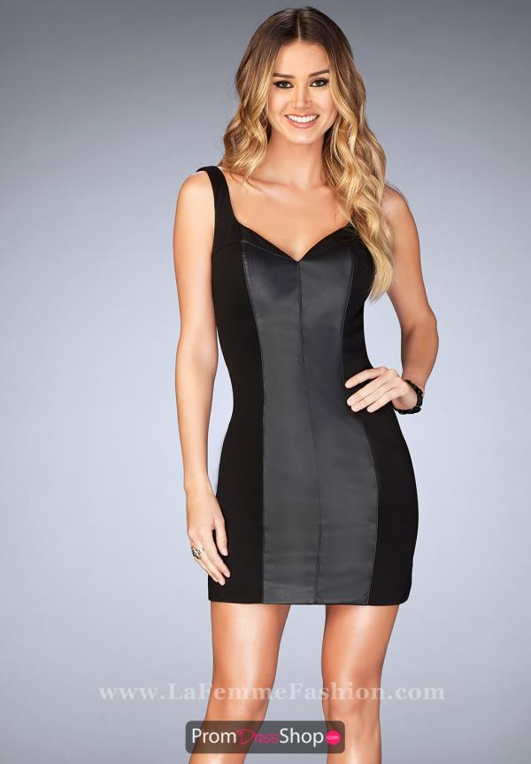 La Femme Short Black Dress 25050