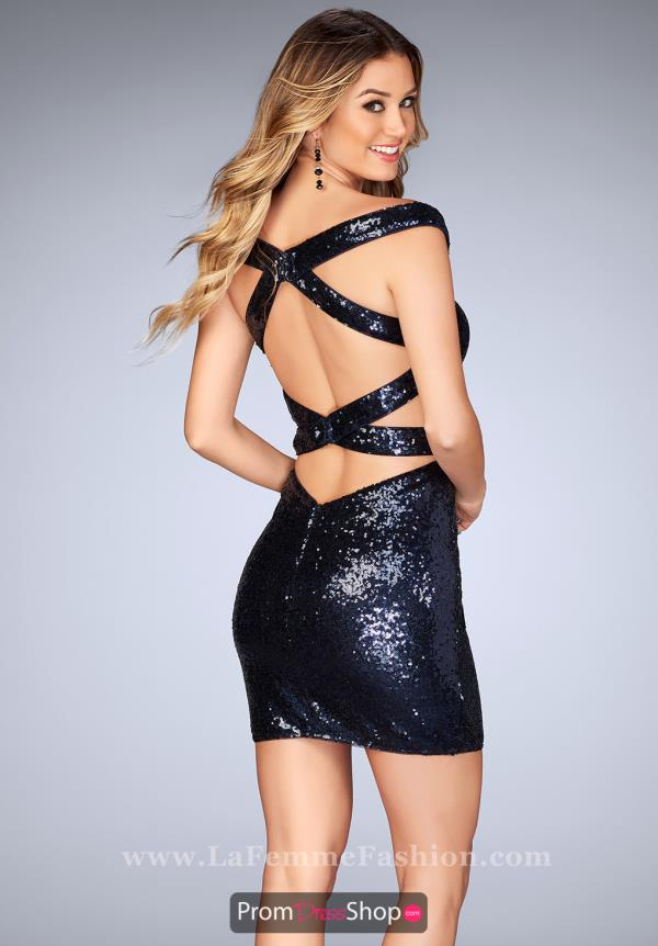 La Femme Short Sequins Dress 25085