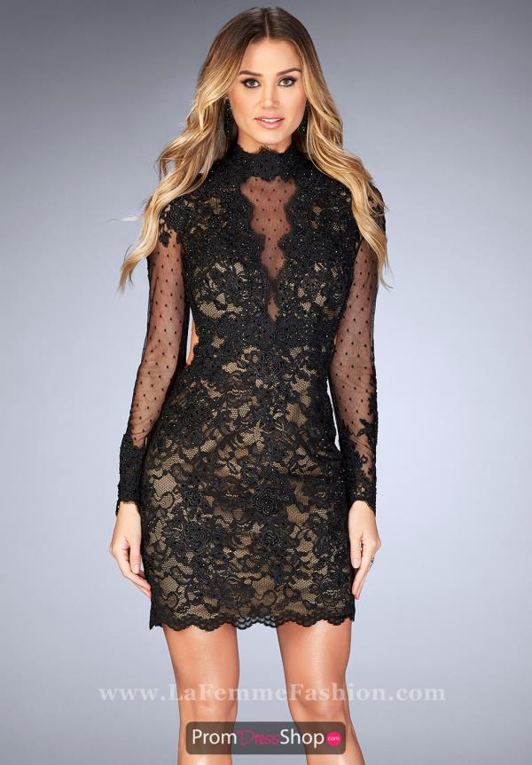 La Femme Short Lace Dress 25121