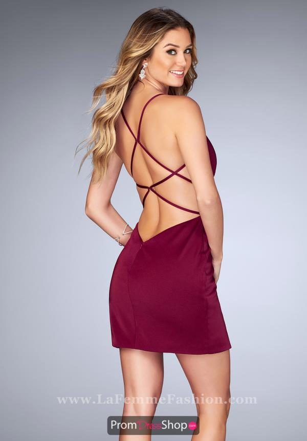 La Femme Short Sexy Open Back Dress 25127