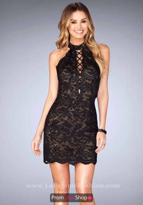 La Femme Short Lace Fitted Dress 25130