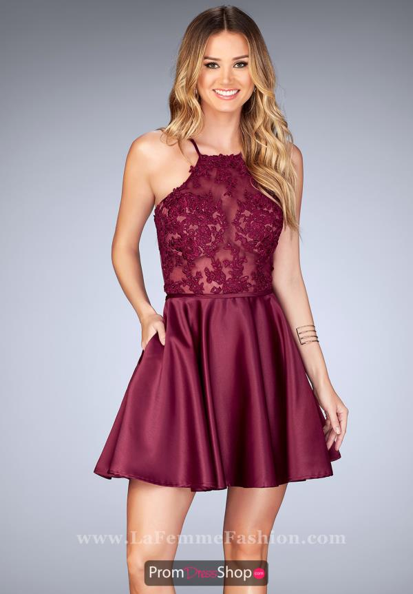 La Femme Short High Neckline Lace Dress 25202