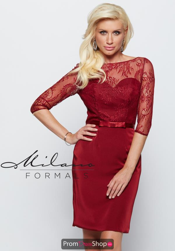 Milano Formals Sleeved Satin Dress E2088