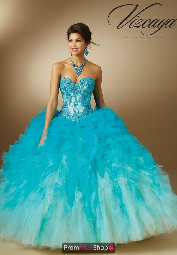 Aqua Vizcaya Strapless Quinceanera Dress 89050