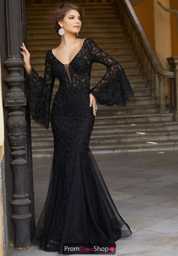 Mori Lee Long Black Dress 42008