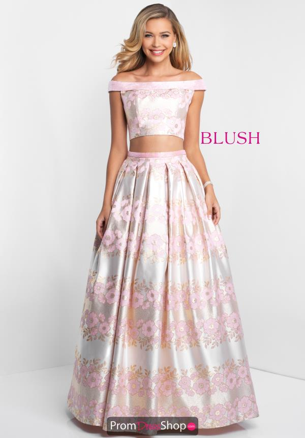 Blush Off the Shoulder A Line Dress 5657