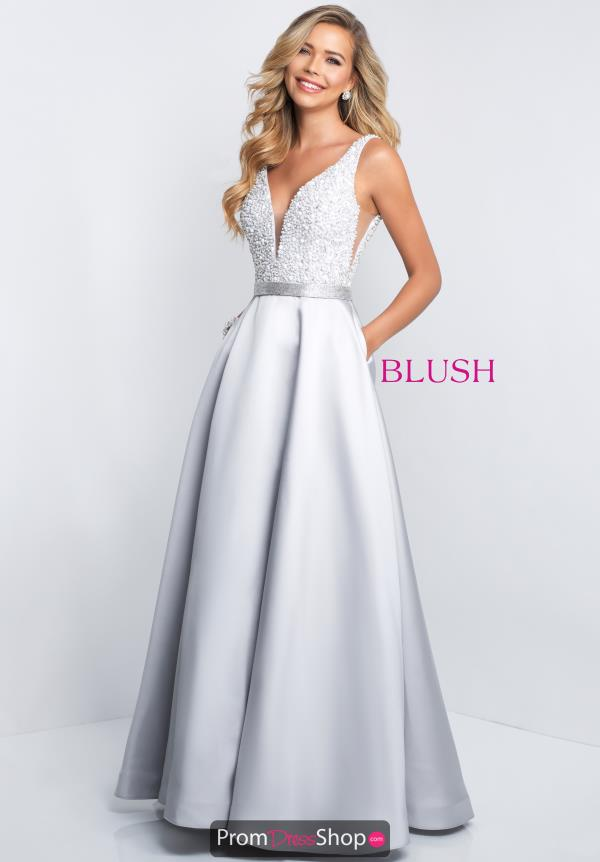 Blush V- Neckline A Line Dress 5681