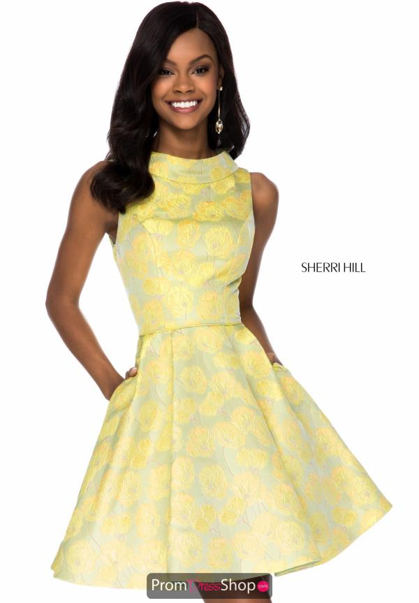 Sherri Hill Short Print A Line Dress S51827